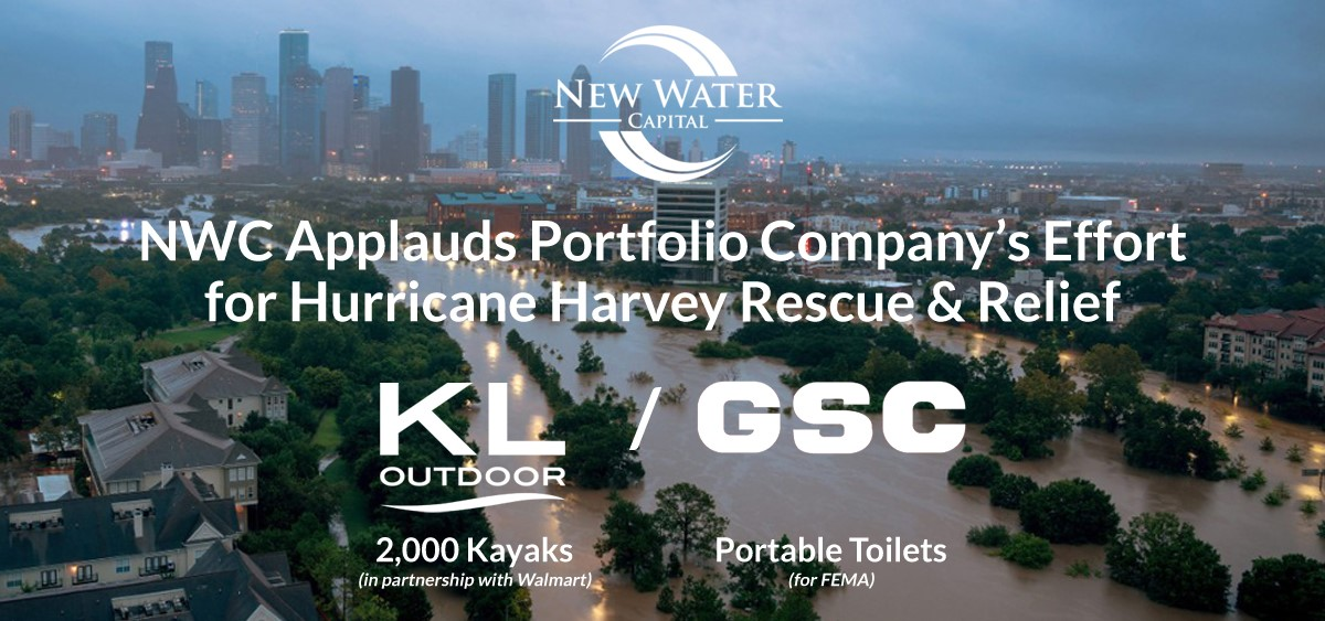 New Water Portfolio Company KL Outdoor-GSC Sends 2000 Kayaks to Hurricane Harvey Flood Relief